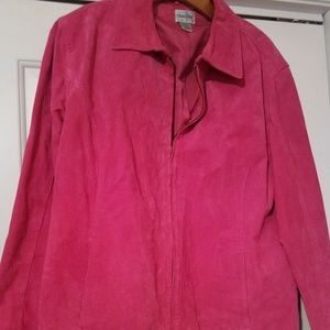 Chicos Hot Pink Suede Jacket Size 16